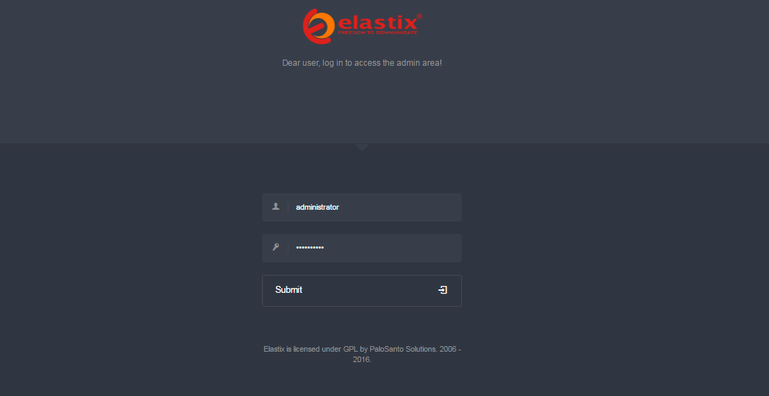 Авторизация администратора Elastix 4.0