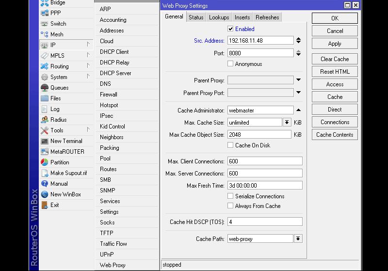 Настройка web proxy на MikroTik