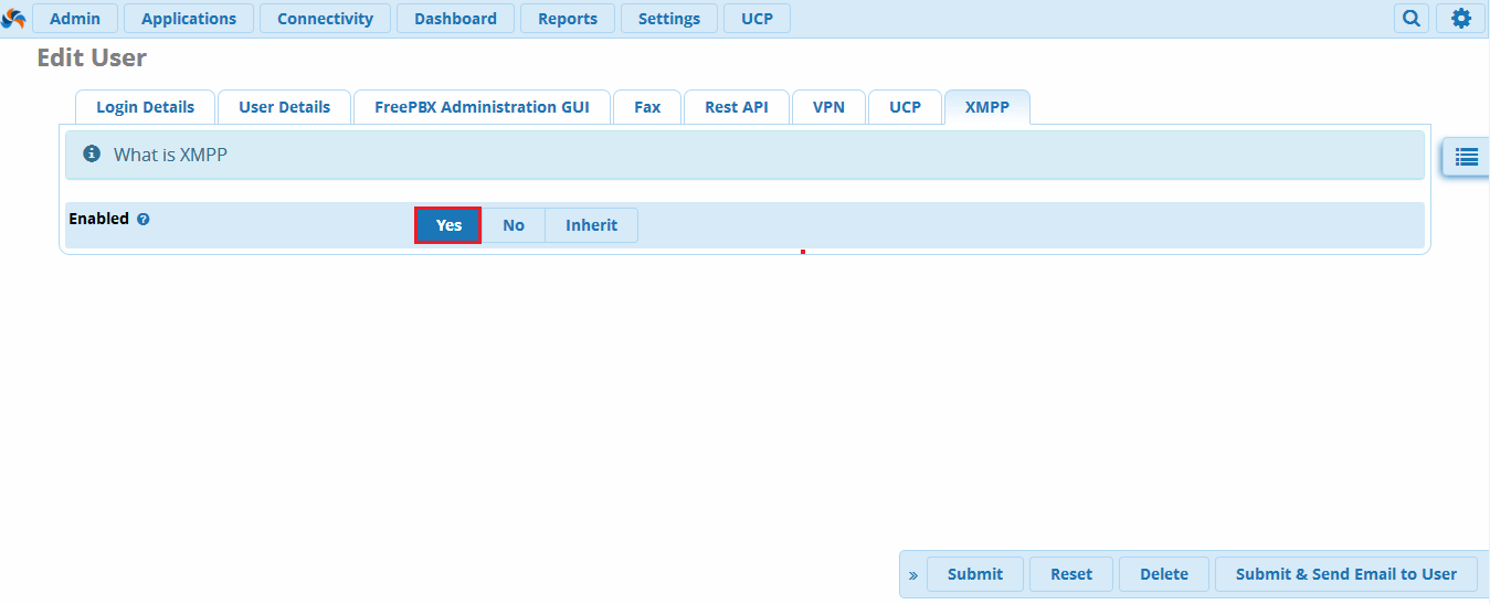 Включить XMPP на внутреннем номере