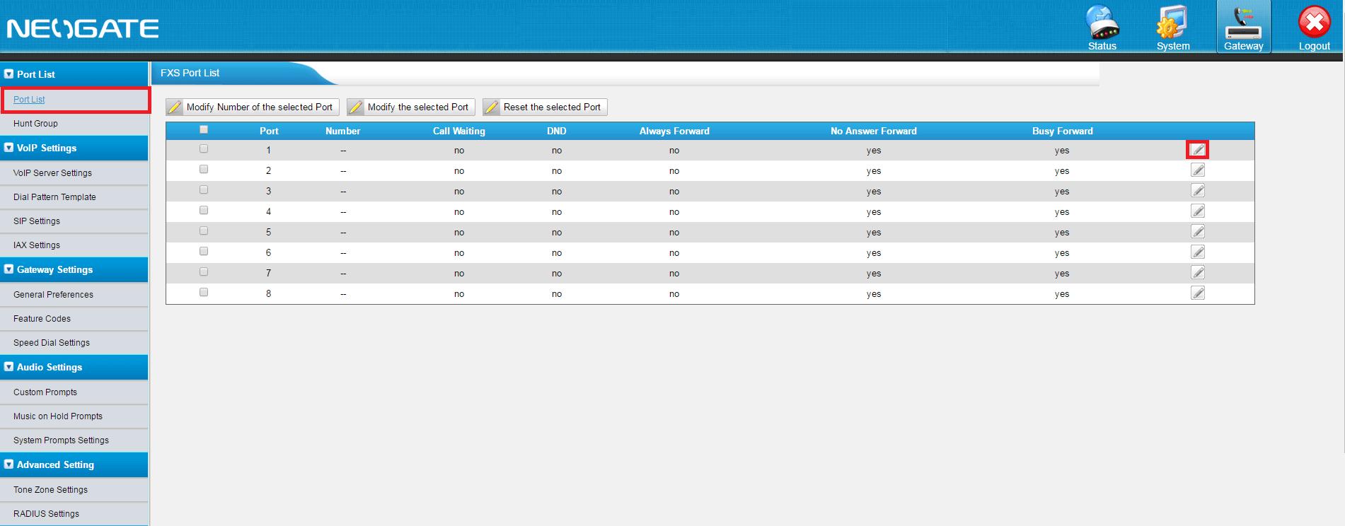 Настройка FXS портов в Asterisk и Yeastar Neogate TA800