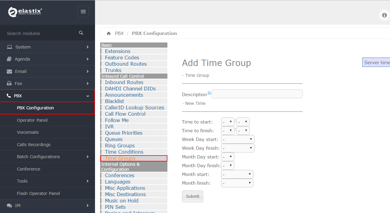 Настройка Time Groups в Elastix 4