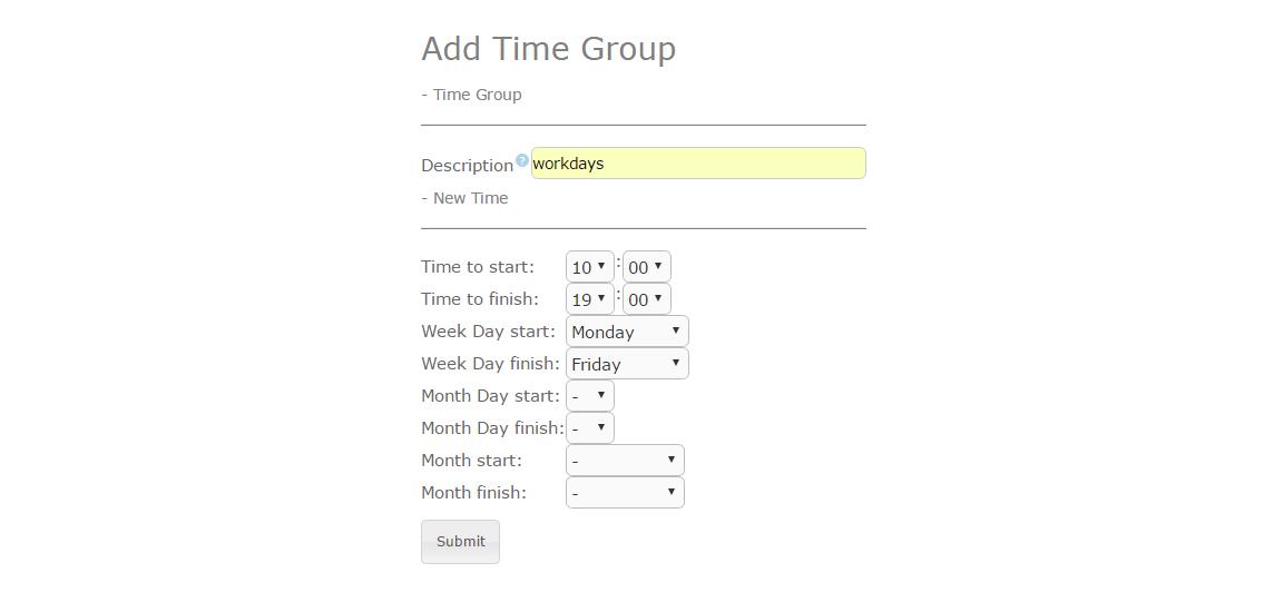 Пример настройки распределения вызовов по времени в Elastix