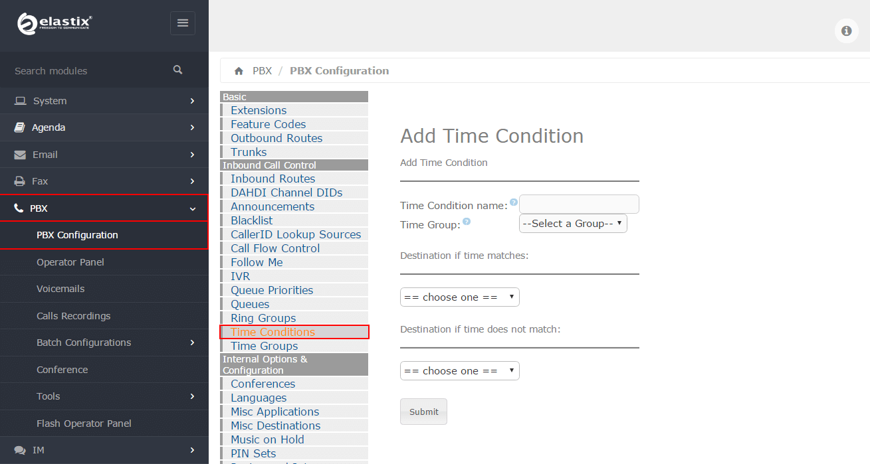 Настройка Time Conditions в Elastix 4