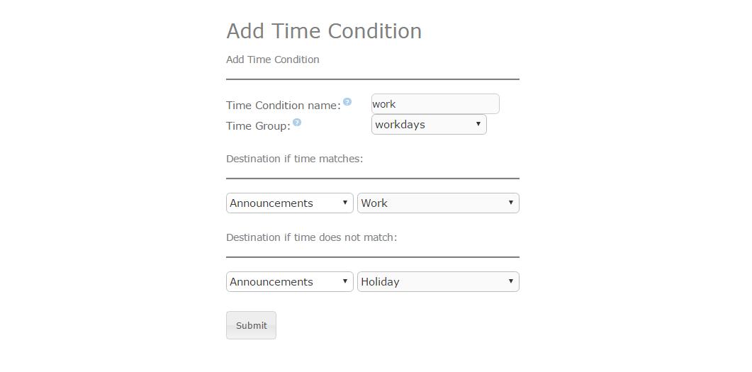 Пример настройки Time Conditions в Elastix 4