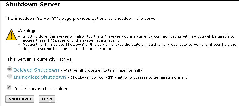Avaya CM – Shutdown Server