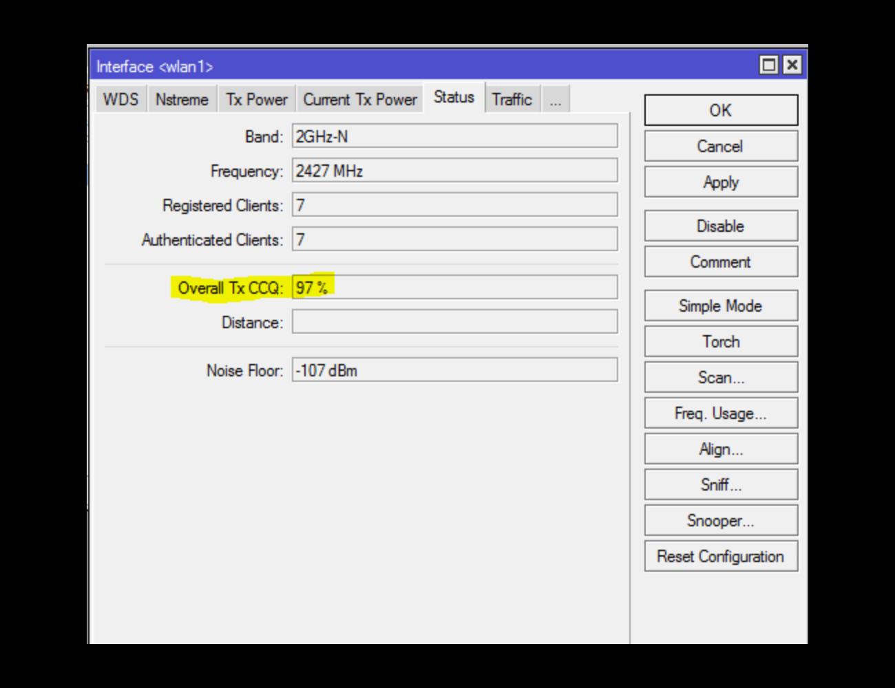 Статус бепроводной интерфейса - параметр CCQ