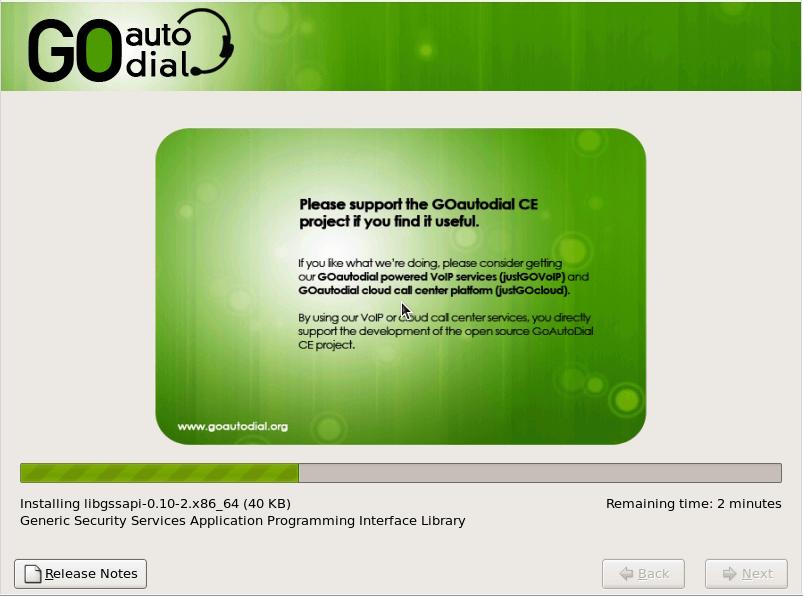 Процесс установки системы GoAutoDial
