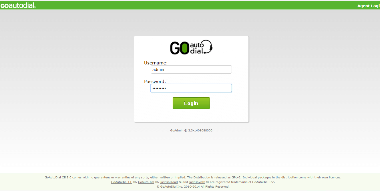 Web – интерфейс GoAutoDial