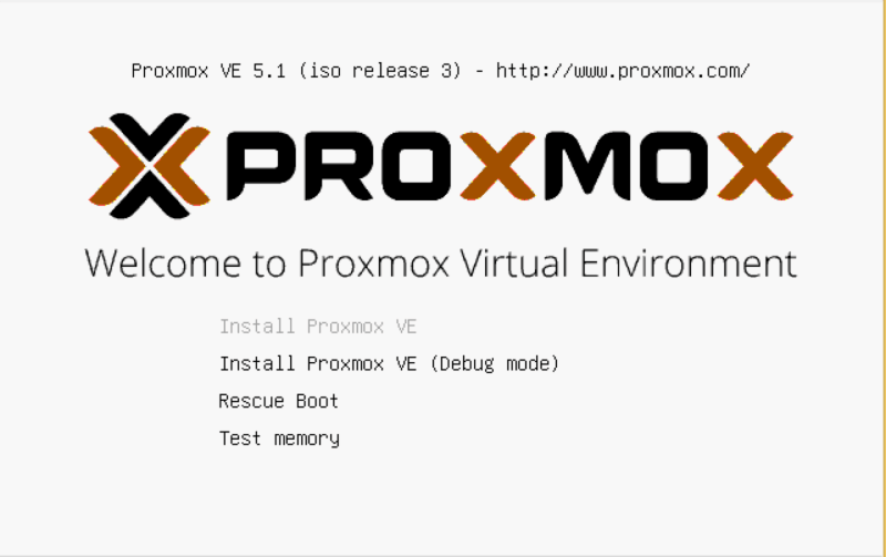 Начало установки Proxmox VE