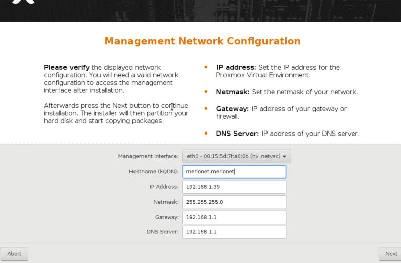 Настройки сети для Proxmox