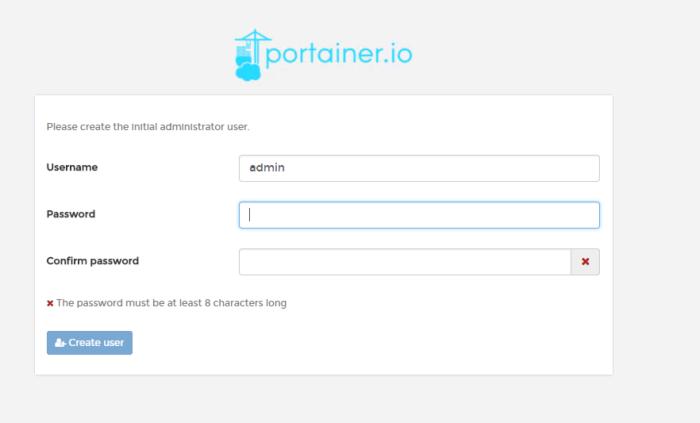 Установка пароля для Portainer