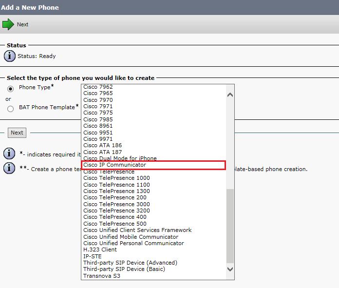 Регистрация Cisco IP Communicator на CUCM