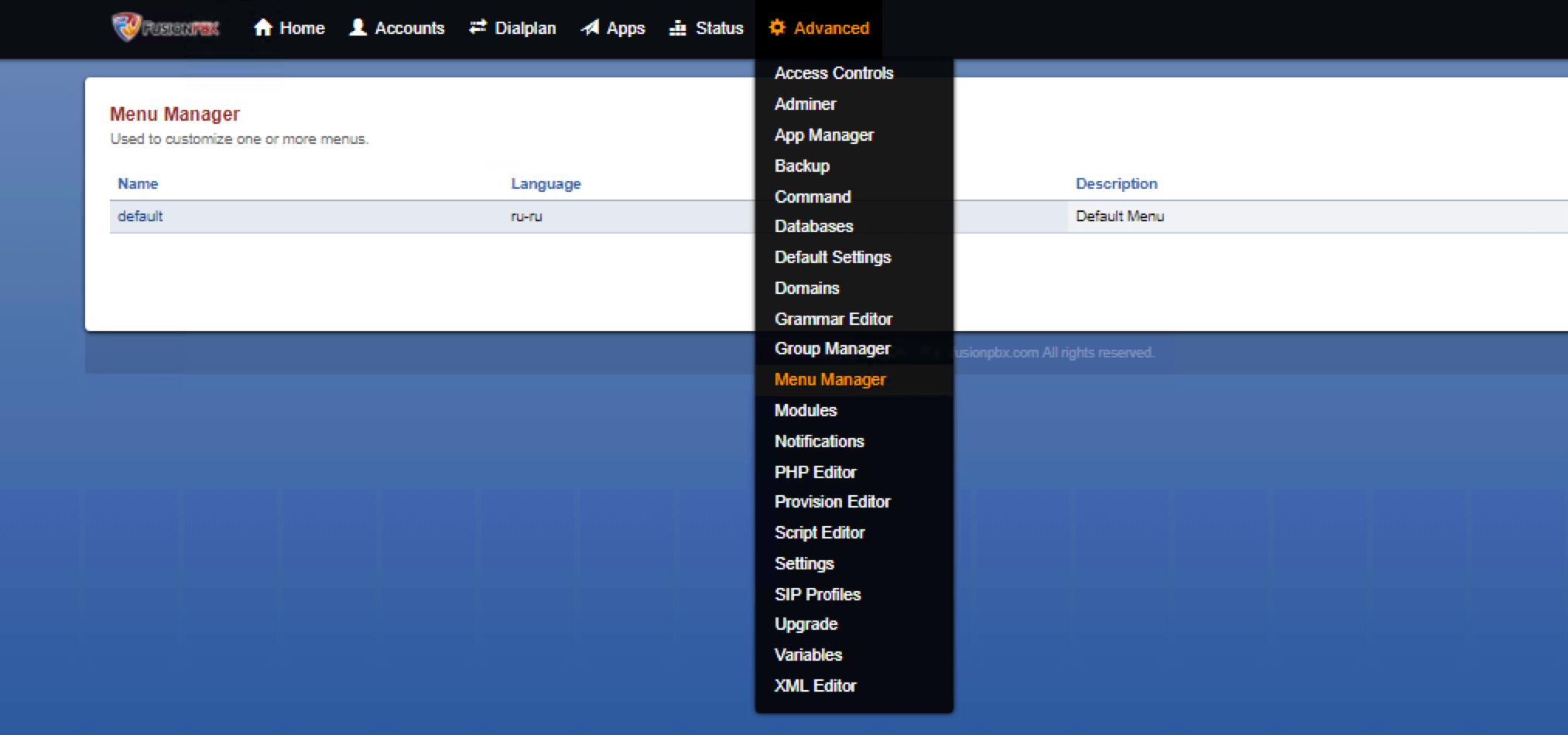 Смена языка в Menu Manager