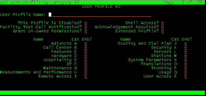 Avaya User Profile Name и Shell Access