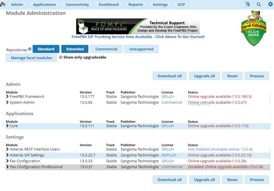 Доступные обновления модулей в FreePBX 13