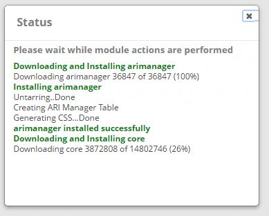 Процесс обновления модуля в FreePBX 13