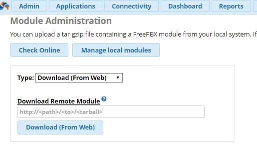 Управление модулями в FreePBX 13