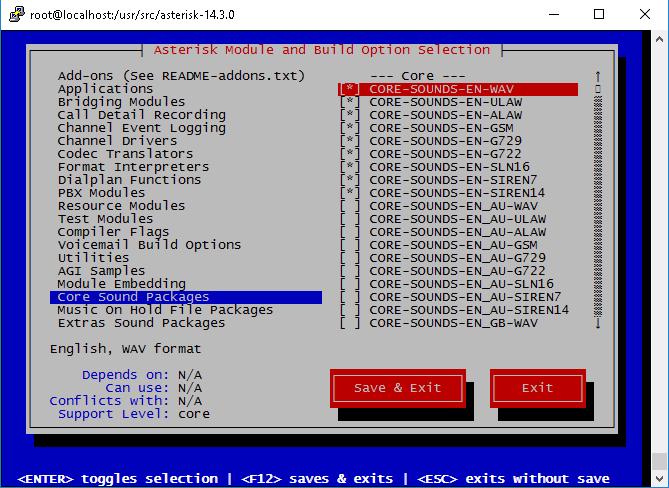 Установка звуковых пакетов Core Sound Packages asterisk