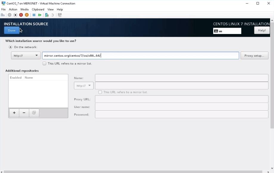 Указывать путь к репозиторию при установке CentOS