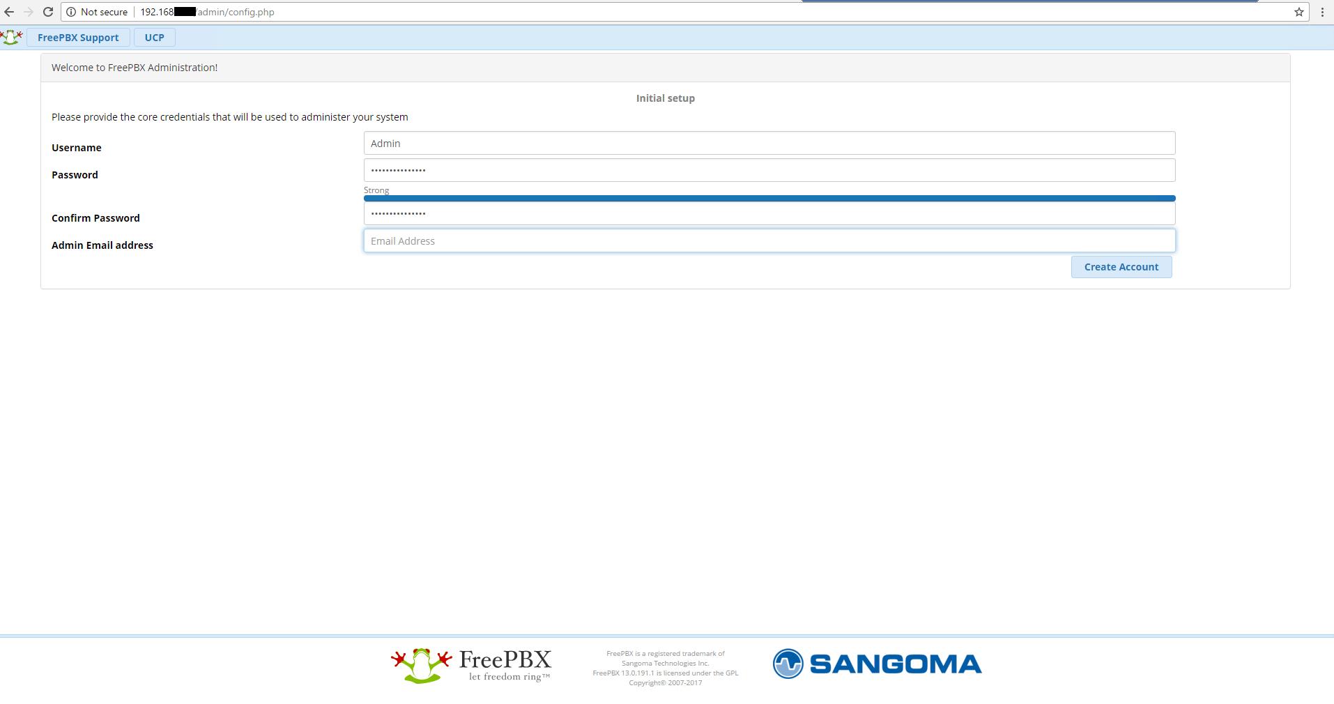 Создание пароля администратора FreePBX 13