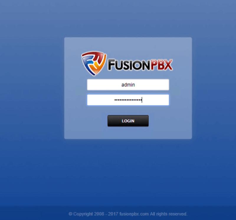 Окно входа в веб-интерфейс FusionPBX