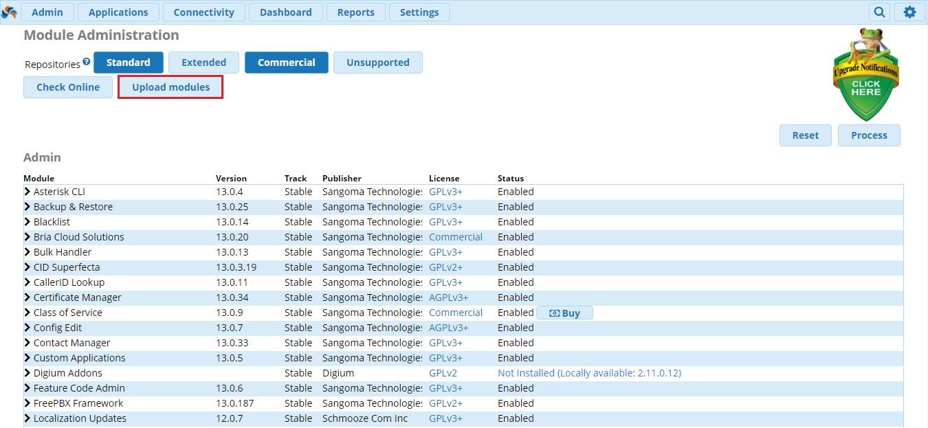 Установка модулей от Asternic в FreePBX 13