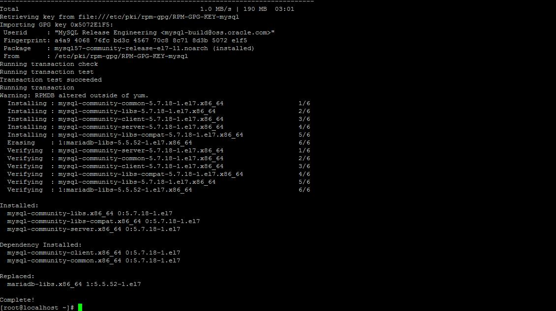 Результат установки MySQL Server на CentOS 7