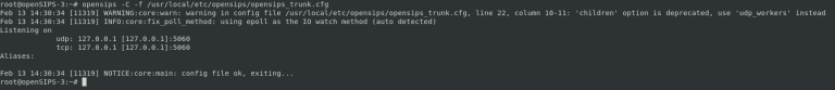 opensips -C -f /usr/local/etc/opensips/opensips_trunk.cfg