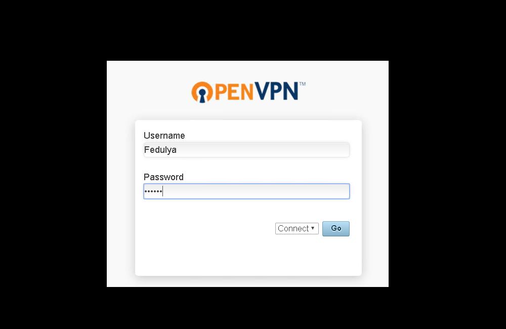 Вход для юзера сервиса OVPN AS
