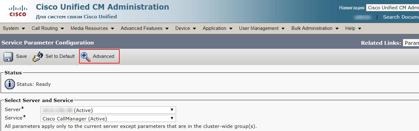 CUCM Advanced параметры
