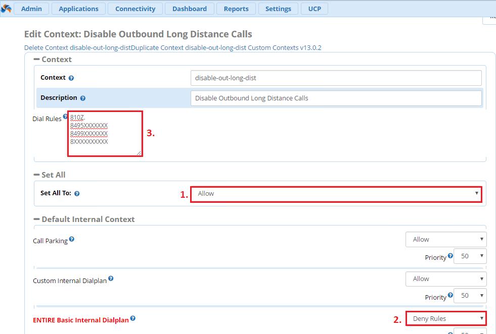 Запрет исходящих вызовов с помощью Custom Context FreePBX 13