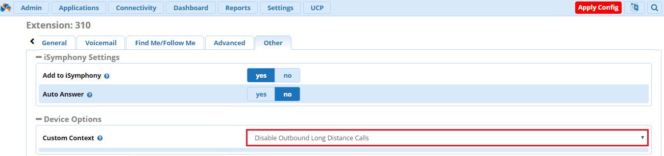 Применить custom context к внутреннему номеру в FreePBX 13
